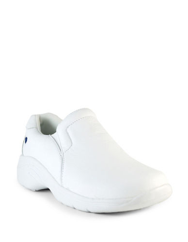Nurse Mates Dove Leather Non-Slip Loafers-WHITE-8W