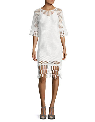 Mo&Co. Edition10 Crochet Fringe Dress-SNOW WHITE-Small