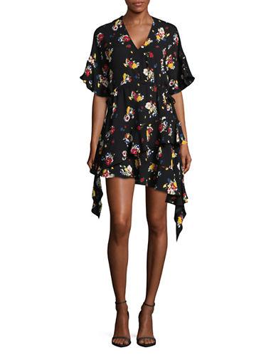 Mo & Co Printed V-Neck Ruffle Dress-BLACK MULTI-X-Small