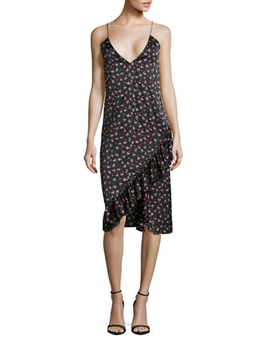 Mo&Co. Edition10 Floral Ruffled Silk-Blend Slip Dress-BLACK MULTI-X-Large