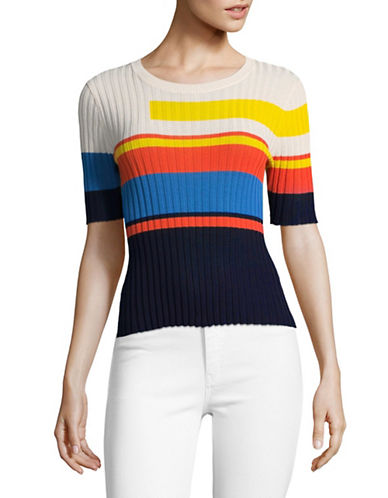 Mo & Co Colourblock Ribbed Sweater-MULTI-Medium