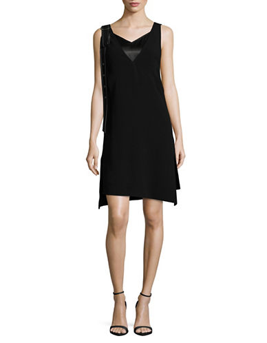 Mo&Co. Edition10 Buckle V-Neck Mini Dress-BLACK-Large