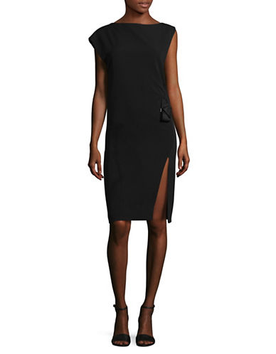Mo&Co. Edition10 Asymmetric Sheath Dress-BLACK-X-Small