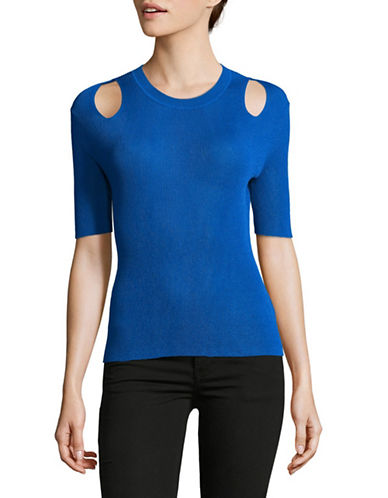 Mo & Co Ribbed Cut-Out Top-BLUE-X-Small