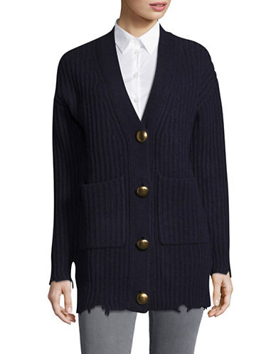 Mo&Co. Edition10 Textured Buttoned Wool Cardigan-BLUE-Small