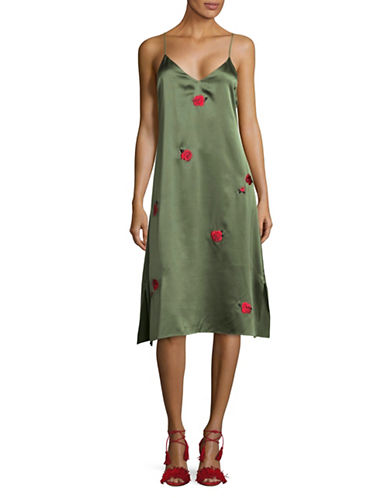 Mo&Co. Edition10 Rose Embroidered Silk Midi Dress-GREEN-Small