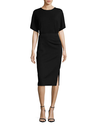 Mo&Co. Edition10 Ruched Midi Dress-BLACK-X-Small
