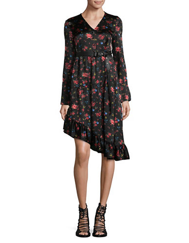 Mo&Co. Edition10 Floral Silk Dress-BLACK MULTI-Large