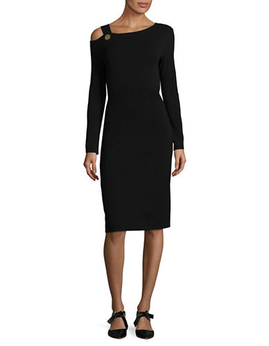 Mo&Co. Edition10 Single-Shoulder Sheath Dress-BLACK-Medium