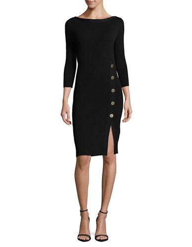 Mo&Co. Edition10 Ribbed Knit Dress-BLACK-X-Large