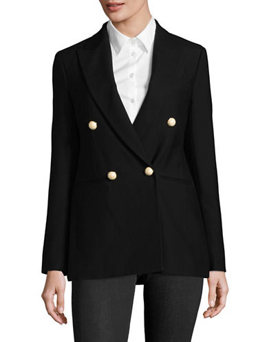 Mo&Co. Edition10 Double-Breasted Wool Blazer-BLACK-Medium