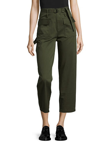 Mo&Co. Edition10 Cropped Cargo Pants-GREEN-Large
