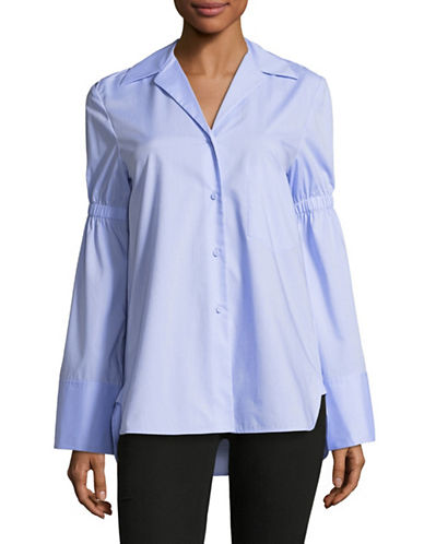 Mo&Co. Edition10 Pagoda Sleeved Cotton Button-Down Shirt-BLUE-Small