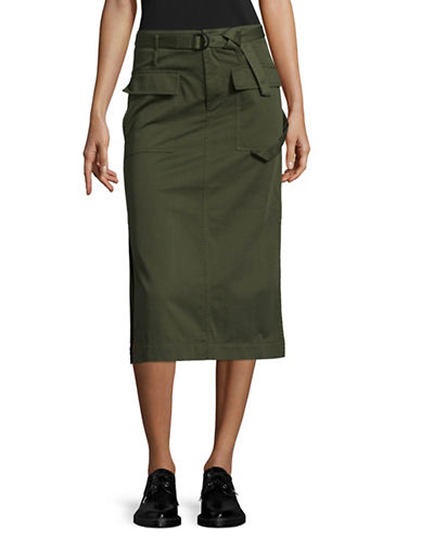 Mo&Co. Edition10 Cargo Midi Skirt-GREEN-Large
