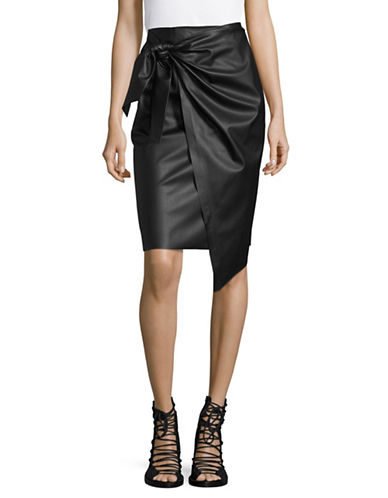 Mo&Co. Edition10 Faux Leather Knot Front Midi Skirt-BLACK-Small