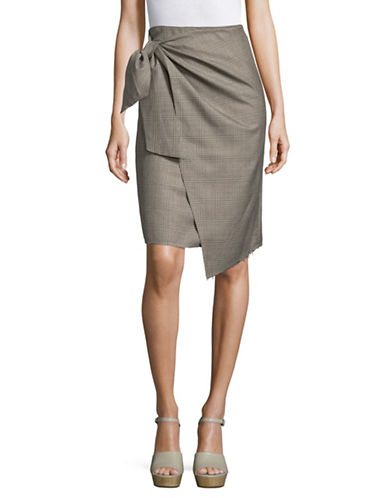 Mo&Co. Edition10 Glen Plaid Knot Front Skirt-GREY-Large