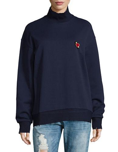 Mo&Co. Edition10 Raw Edged Sweater-BLUE-Medium