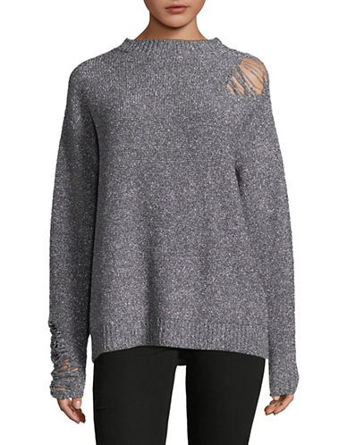 Mo&Co. Edition10 Metallic Ripped Sweater-SILVER-X-Large