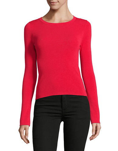Mo&Co. Edition10 Crossed Round Neck Sweater-RED-Medium