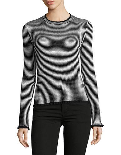 Mo&Co. Edition10 Metallic Stripe Sweater-BLACK/WHITE-Large