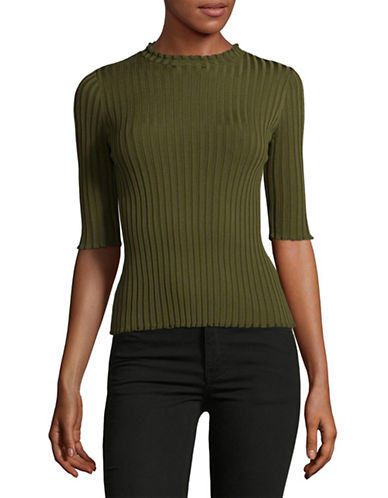 Mo&Co. Edition10 Half Sleeve Sweater-GREEN-Small