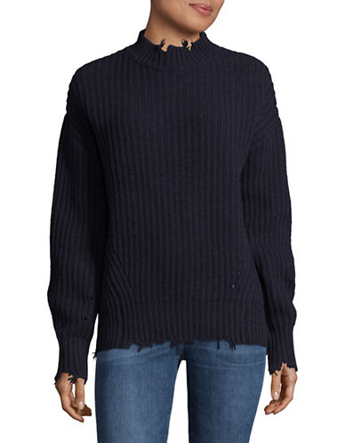 Mo&Co. Edition10 Lantern Wool Sweater-BLUE-Large