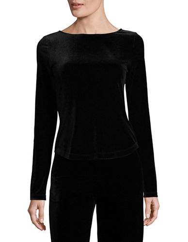 Mo&Co. Edition10 Rhinestone-Back Velvet Top-BLACK-X-Small