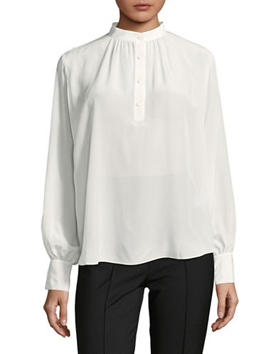 Mo&Co. Edition10 Crane Graphic Silk Shirt-WHITE-X-Small