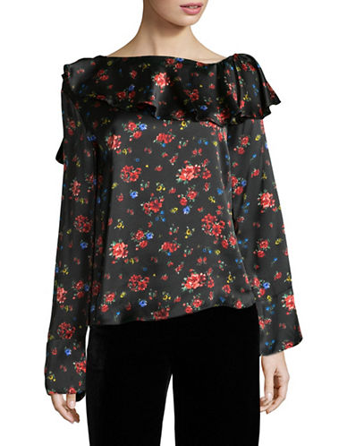 Mo&Co. Edition10 Ruffle-Neck Floral Silk Blouse-BLACK-Small