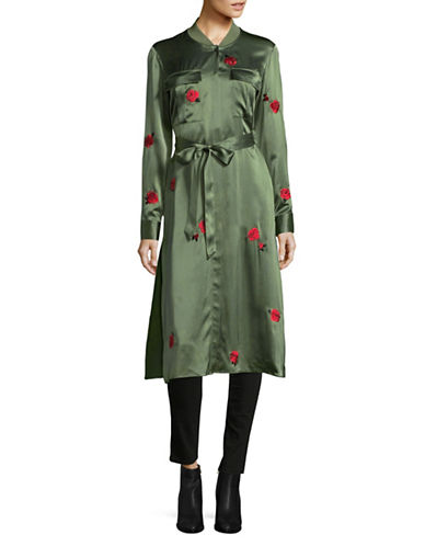 Mo&Co. Edition10 Rose Embroidered Silk Trench Coat-GREEN-Small