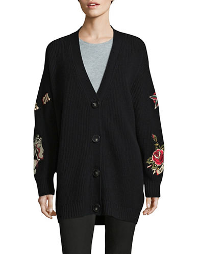 Mo & Co Oversized Wool Cardigan-BLACK-Medium