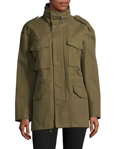 Mo & Co Full-Snap Cotton Coat-GREEN-Medium