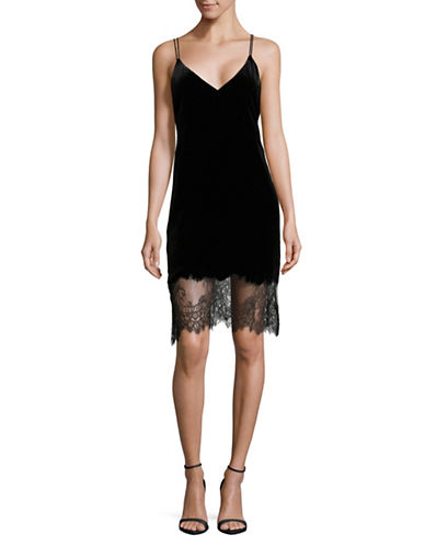 Mo & Co Velvet Lace Dress-BLACK-Medium