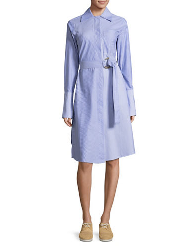 Mo & Co Striped Belted Shirtdress-BLUE-Small
