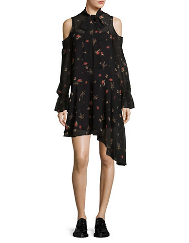 Mo & Co Printed Sheer Cold Shoulder Dress-BLACK-Large