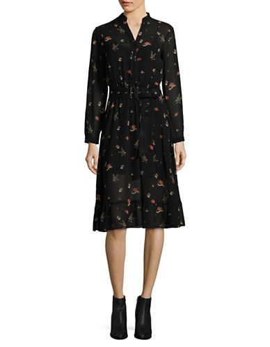 Mo & Co Printed Sheer Shirtdress-BLACK-X-Small