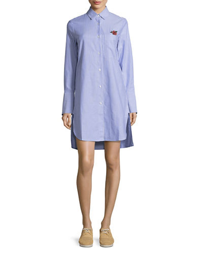 Mo & Co Striped Self-Tie Shirtdress-BLUE-X-Small