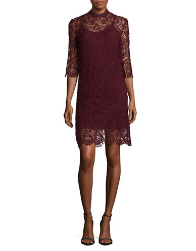 Mo & Co Three-Quarter Sleeve Lace Dress-RED-Large