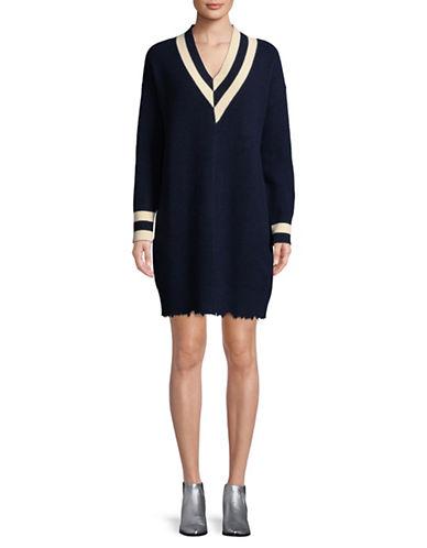 Mo & Co Wool Knit Dress-BLUE-Large