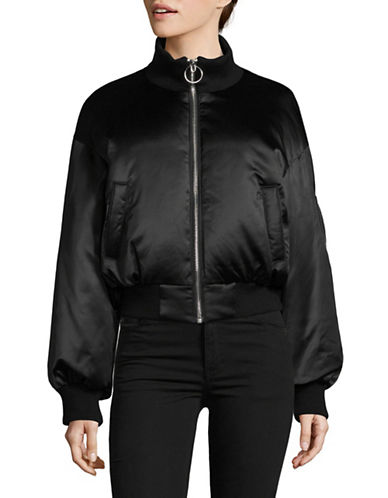 Mo & Co Classic Bomber Jacket-BLACK-X-Small
