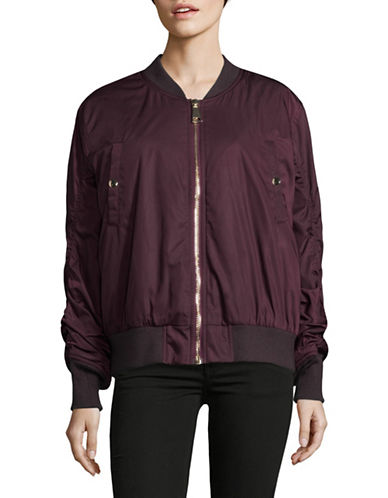 Mo & Co Classic Bomber Jacket-PLUM-Medium