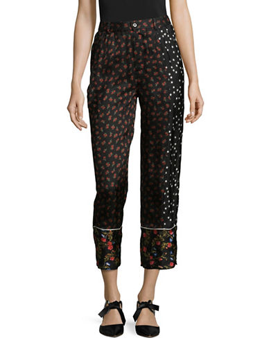 Mo & Co Printed Pyjama Pants-BLACK-X-Small
