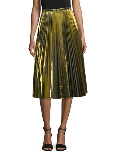 Mo & Co Pleated Midi Skirt-GOLD-Small