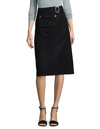 Mo & Co Belted Knee-Length Skirt-BLUE-X-Small