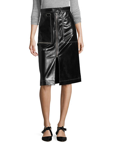 Mo & Co Midi Patent Leather Skirt-BLACK-X-Small