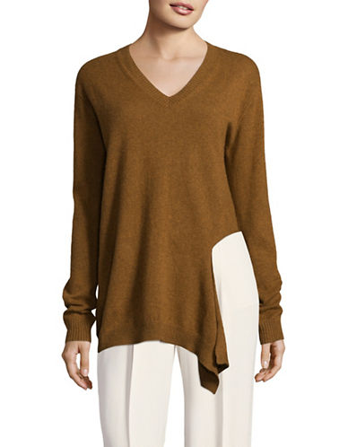 Mo & Co Oversized V-Neck Sweater-COPPER-Large