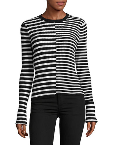 Mo & Co Striped Crewneck Top-BLACK-Large