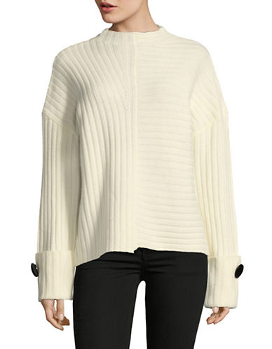 Mo & Co Directional-Rib Wool Sweater-BEIGE-Small