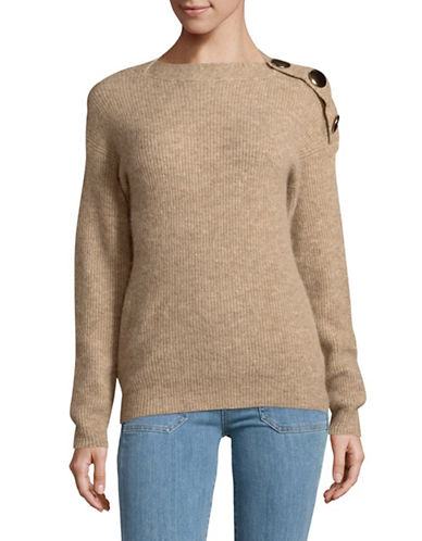 Mo & Co Round Neck Side Button Sweater-SAND-X-Small