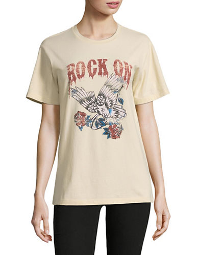 Mo & Co Rock On T-Shirt-BEIGE-X-Small